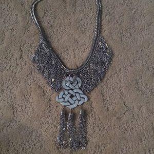Silver toned metal fringe statement necklace